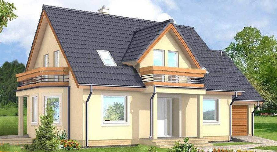 Каркасный дом с балконами и гаражом, проект самара.